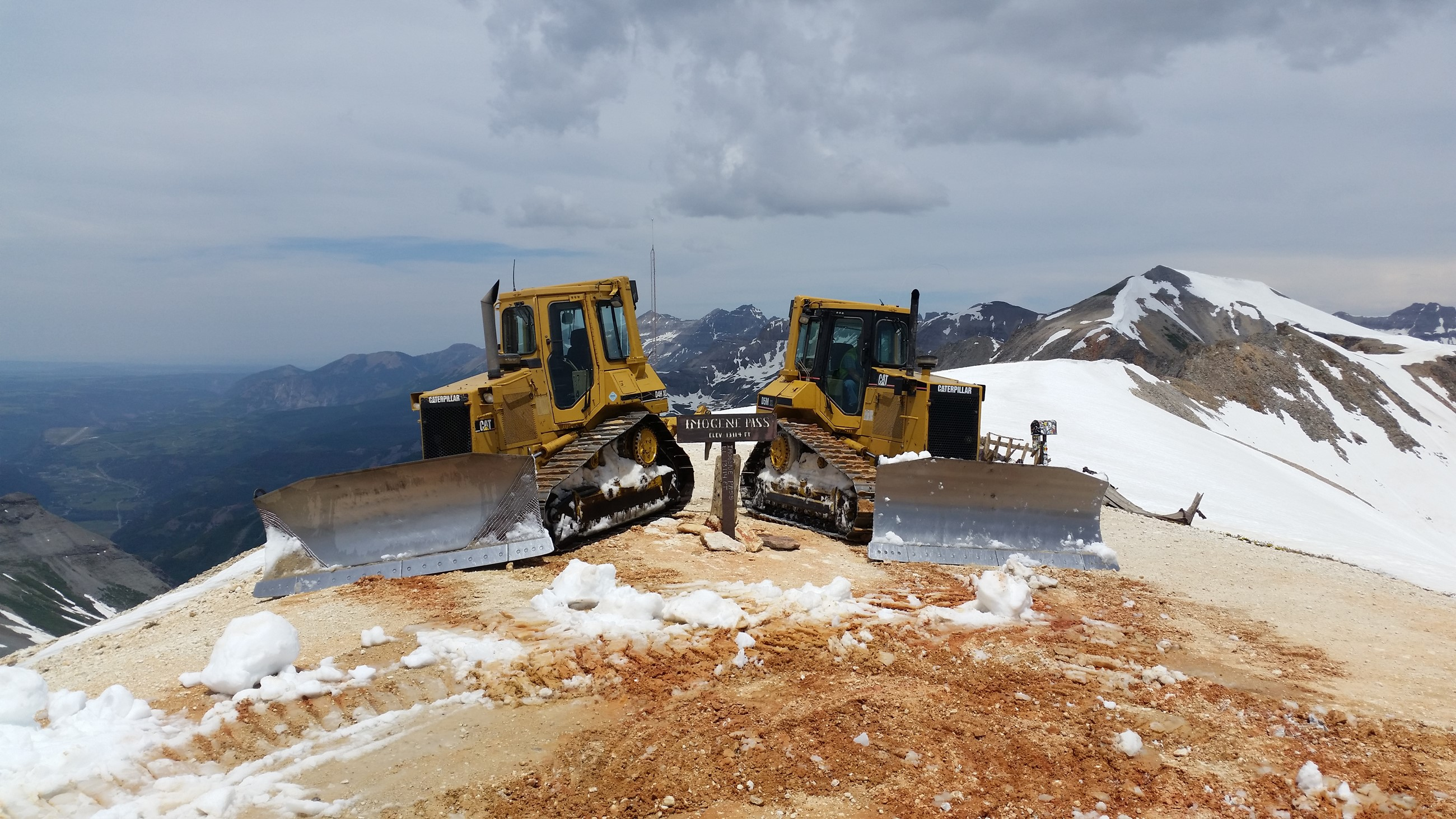 Two dozers on top of Imogene Pass