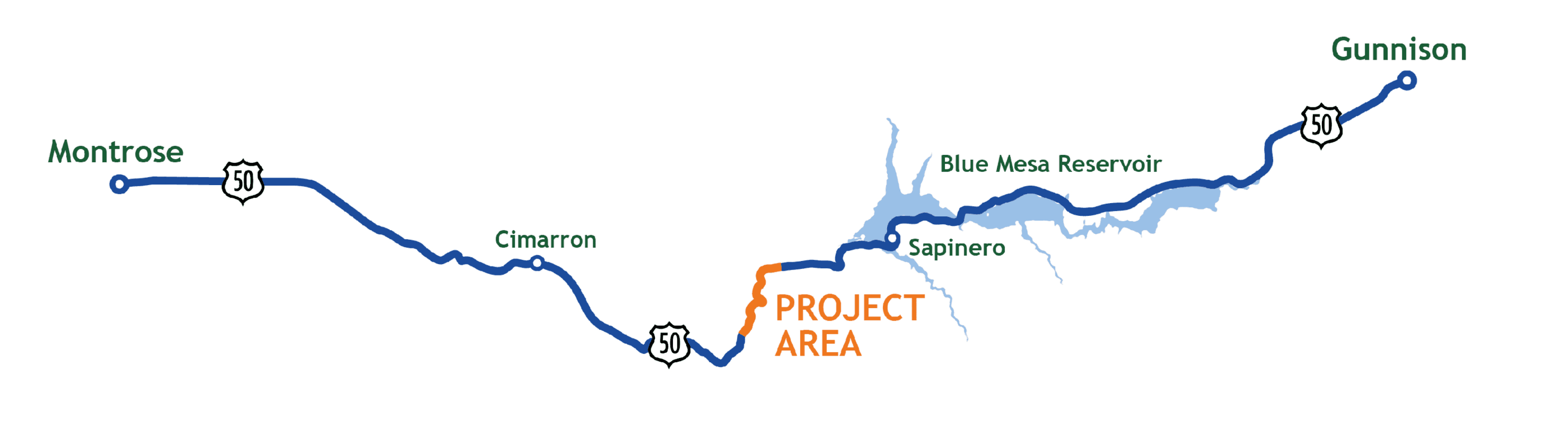 Map of the US-50 Project Area